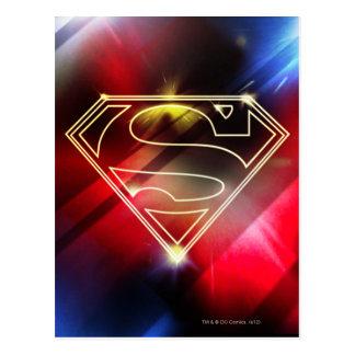 スーパーマンは の光沢がある黄色い輪郭のロゴを様式化しました ポストカード