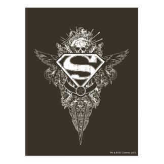 スーパーマンは|の星およびスカルのロゴを様式化しました はがき