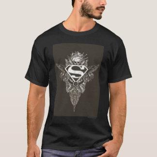 スーパーマンは|の星およびスカルのロゴを様式化しました Tシャツ