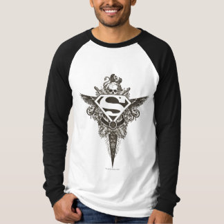 スーパーマンは|の星およびスカルの白のロゴを様式化しました Tシャツ