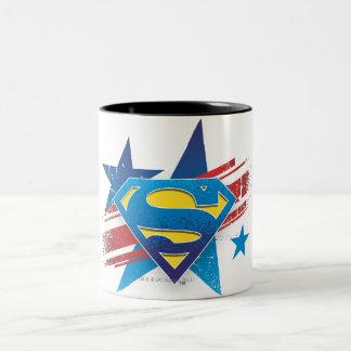 スーパーマンは の星条旗のロゴを様式化しました ツートーンマグカップ