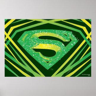 スーパーマンは|の緑の装飾的なロゴを様式化しました プリント