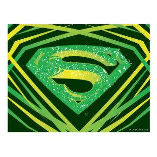 スーパーマンは の緑の装飾的なロゴを様式化しました ポストカード