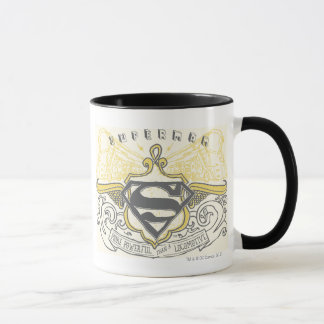 スーパーマンは|の黄色によって描かれた列車のロゴを様式化しました マグカップ
