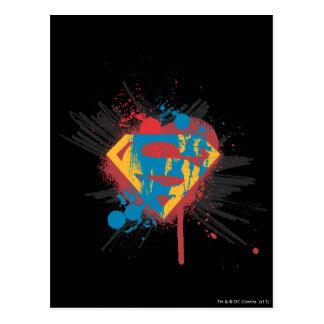 スーパーマンは の(ばちゃばちゃ)跳ねるのロゴを様式化しました ポストカード