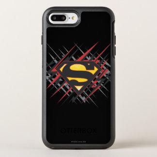 スーパーマンは|を黒いおよび赤の殴打のロゴ様式化しました オッターボックスシンメトリーiPhone 8 PLUS/7 PLUSケース