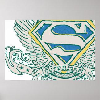 スーパーマンは スケッチされた頂上のロゴを様式化しました ポスター