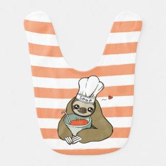 スープ怠惰のスケッチが付いているかわいいピンクのストライプのなベビー用ビブ ベビービブ