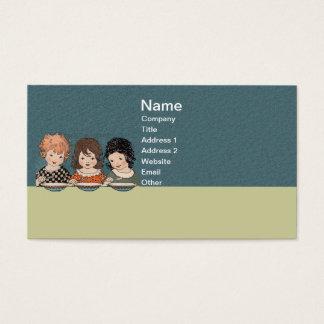 スープ3姉妹を食べているヴィンテージの小さな女の子 名刺