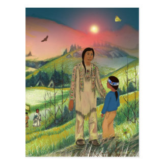 スー族の責任者および息子 ポストカード