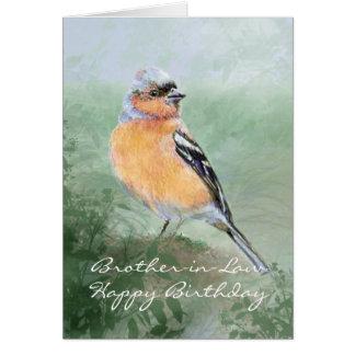 ズアオアトリの鳥のハッピーバースデーの義理の兄弟 カード