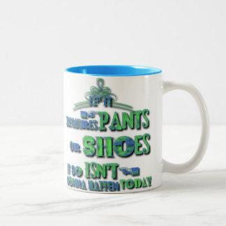 ズボンまたは靴のそれから出来事のマグを要求すれば ツートーンマグカップ