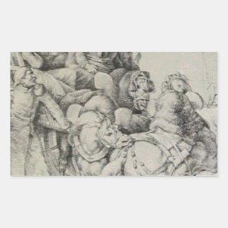 セオドアがけが人の兵士で満たすワゴン 長方形シール