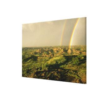 セオドアの色彩の鮮やかな渓谷上の二重虹 キャンバスプリント