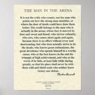 セオドア・ルーズベルト著競技場の引用文の人 ポスター
