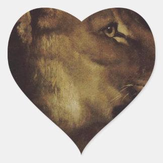 セオドアGericault著ライオンの頭部 ハートシール