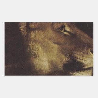 セオドアGericault著ライオンの頭部 長方形シール