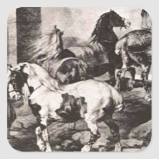 セオドアGericault著市に行っている馬 スクエアシール