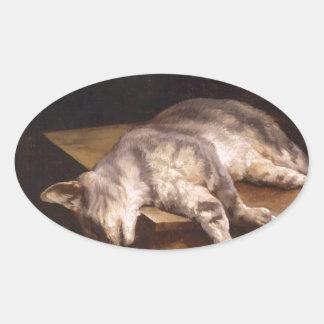 セオドアGericault著死んだ猫 楕円形シール