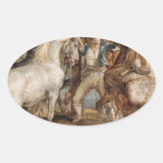 セオドアGericault著馬の市場 楕円形シール
