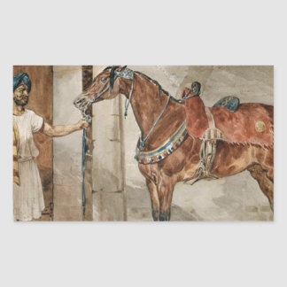 セオドアGericault著馬(東) 長方形シール