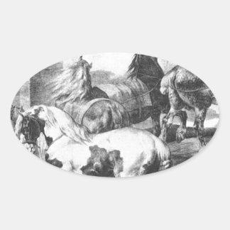 セオドアGericault著馬 楕円形シール