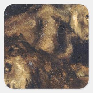 セオドアGericault著4頭のライオンのための勉強 スクエアシール
