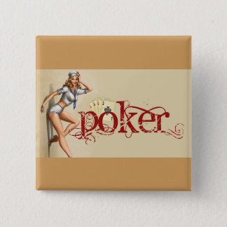 セクシーなトランプのポーカーの女性 5.1CM 正方形バッジ