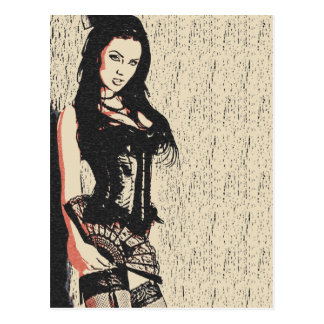 セクシーな誘惑のランジェリーの完全なブルネットの花型女性歌手 ポストカード