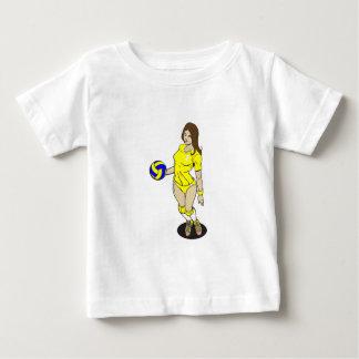 セクシーなVOLLEYGIRLのブルネットの黄色 ベビーTシャツ