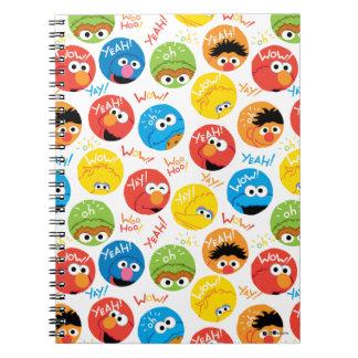 セサミストリートの円のキャラクターパターン ノートブック
