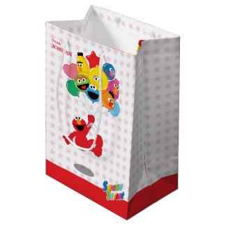 セサミストリート| Elmoおよび友達-誕生日の気球 ミディアムペーパーバッグ