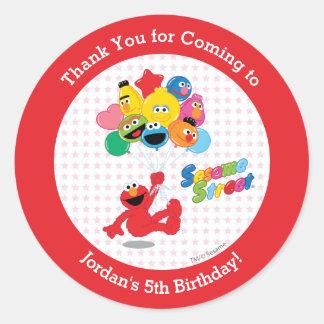 セサミストリート| Elmoおよび友達-誕生日の気球 ラウンドシール