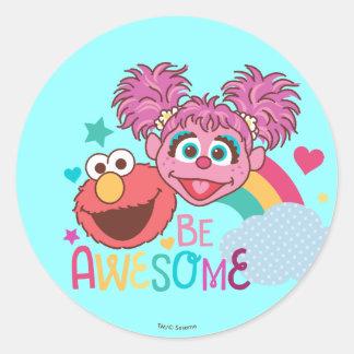 セサミストリート| Elmo及びAbby -素晴らしいがあって下さい ラウンドシール