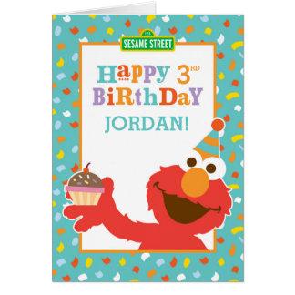 セサミストリート| Elmo -カップケーキ及び紙吹雪の誕生日 カード