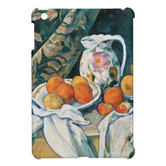 セザンヌの静物画のカーテン、開花した水差し、フルーツ iPad MINIケース
