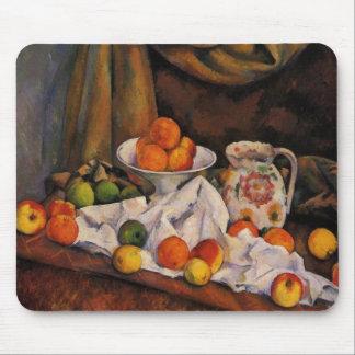 セザンヌ: デザート用深皿、水差しおよびフルーツのアートワーク マウスパッド