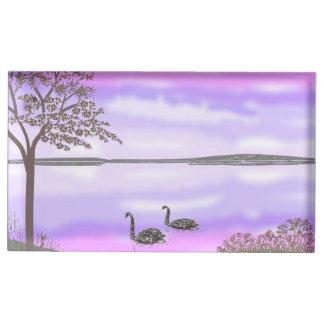 セットを結婚している白鳥との湖の日没場面 テーブルカードホルダー