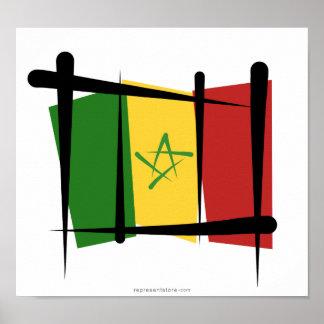 セネガルのブラシの旗 ポスター