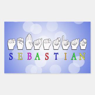 セバスチャンFINGERSPELLED ASLの一流の印 長方形シール
