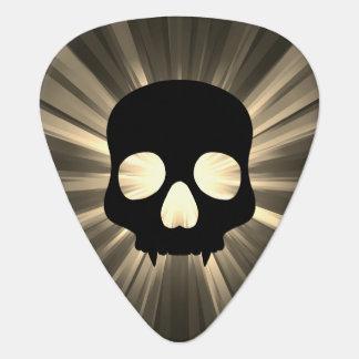 セピア色および灰色の黒いスカル ギターピック