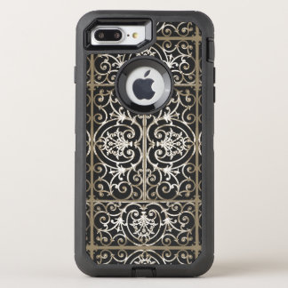 セピア色および黒いscrollworkパターン オッターボックスディフェンダーiPhone 8 plus/7 plusケース
