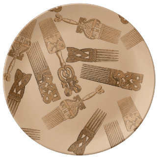 セピア色のアフリカは磁器皿をとかします 磁器プレート