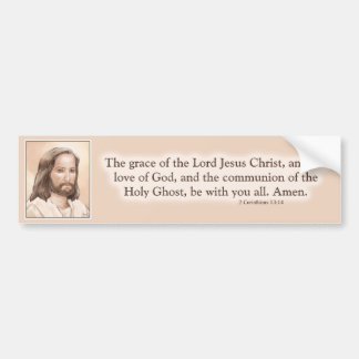 セピア色のイエス・キリストの芸術の聖書の引用文- 2 Corinthiansの13:14 バンパーステッカー