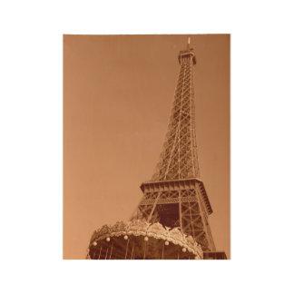 セピア色のエッフェル塔 ウッドポスター