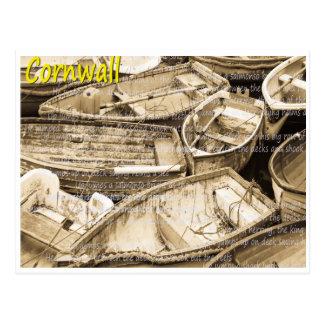 セピア色のコーニッシュのボート ポストカード