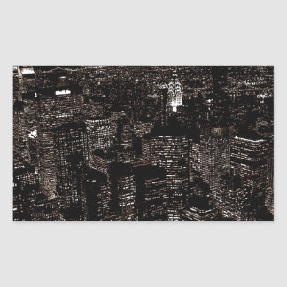 セピア色のニューヨークシティ夜スカイライン 長方形シール