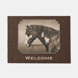 セピア色のネイティブアメリカンのまだら馬戦争馬 ドアマット
