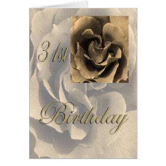 セピア色のバラの幸せな第31誕生日 カード