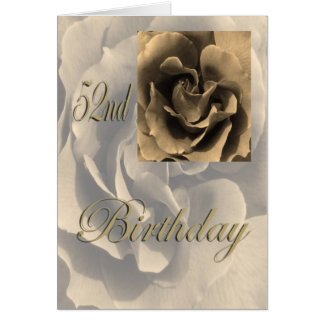 セピア色のバラの幸せな第52誕生日 カード